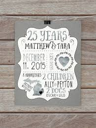 25 year anniversary gift ideas 25 year anniversary gift silver wedding anniversary custom gift for