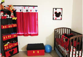 Red Mickey Mouse Curtains Mickey Mouse Nursery Bedroom Decorations With Wood Baby Crib And