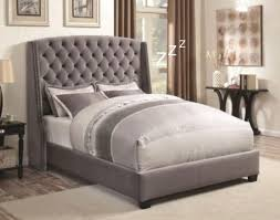 Grey Tufted Headboard Grey Velvet Fabric Bed With Tufted Headboard In King