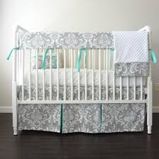 gray aqua blue damask crib rail bedding set