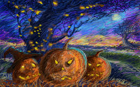 illustrated halloween pumpkins wallpaper by hd wallpapers daily
