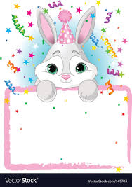 rabbit birthday bunny birthday invitation royalty free vector image