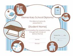 elementary diploma certificate template free certificate