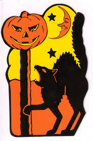 vintage halloween cat decorations