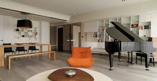 apartments modern orange black living room near piano with
