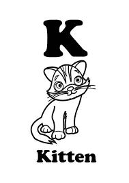 letter kitten coloring letter kitten