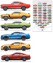mustang all models poster of all ford mustang models for official poster celebrating