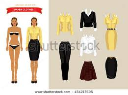 paper doll formal clothes college stock vector 441365158
