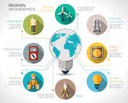 electricity infographics set with electric bulb energy generation