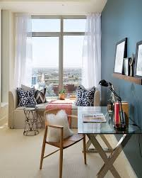 office contemporary home office and guest room with upholstered
