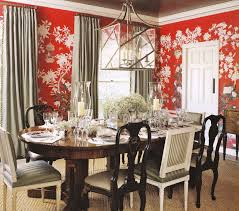 cute dining room with red wallpapers in white floral pattern red
