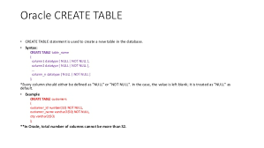 Create Table Oracle Sql Oraclesql