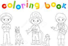 policeman fireman doctor uniform coloring book