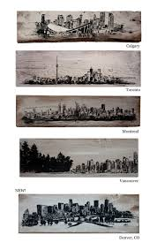home decor calgary silhouette city skylines on rustic pallet board toronto calgary