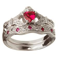 claddagh wedding ring sets 14k white gold ruby set claddagh ring wedding ring set