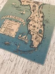 Map Fabric Florida Map Burlap Panel Nautical Printed Fabric