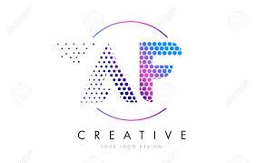 af a f pink magenta dotted bubble letter logo design dots