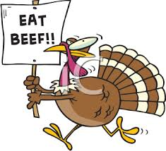 thanksgiving clipart turkey with an eat beef sign artwork