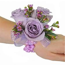 lavender rose with wax flower wrist corsage cbcpas02 u2013 flower patch