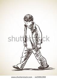sketch sad boy walking hand drawn stock vector 445991260