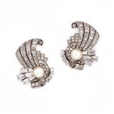 pearl clip on earrings a pair of deco diamond and pearl clip earrings by