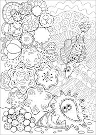grouper found a sea shell in coral reef coloring page free