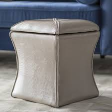 Leather Storage Ottoman Mercer41 Randle Croc Leather Storage Ottoman U0026 Reviews Wayfair