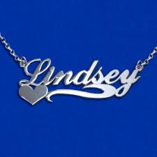 chain with name thickness side heart silver name necklace with rollo chain