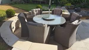 6 Seater Patio Furniture Set - royal winchester high back 6 seater round dining set natural whitewash