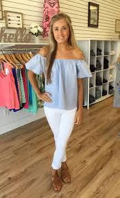 light blue off the shoulder top which off shoulder top goes with white jeans best quora