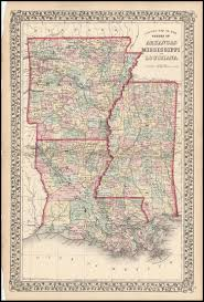 Maps Of Louisiana County Map Of The States Of Arkansas Mississippi And Louisiana
