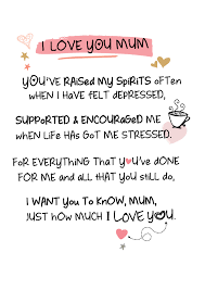 i love you mum inspired words greeting card blank inside