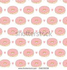 pattern cute cartoon pink donuts hearts stock vector 284210759
