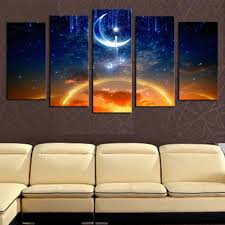 aliexpress com buy 5 panels canvas print moon and star painting