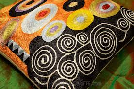 Cushion Covers For Sofa Pillows by Klimt Orange Black Swirls Decorative Pillow Cover Silk Hand