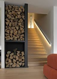 modern basement staircase with led lighting along stair railing