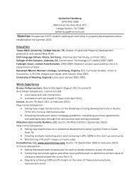 resume exles college students internships effective resume exle for internship students in property