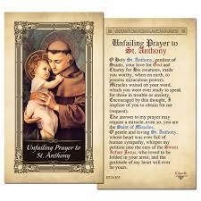 unfailing prayer to st anthony laminated prayer card prayers