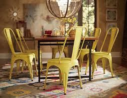 amara 5pcs rustic industrial wood dining table set metal yellow chairs