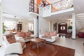 classy house living room and original mezzanine stock photo