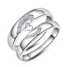 love rings silver images Half heart couple rings set for women and men sterling silver jpg
