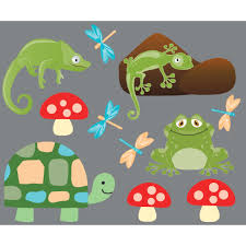 lizard frog and turtle wall art for boys rooms