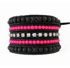 rhinestone wrap bracelet images Neon pink and rhinestone black leather wrap bracelet onsra jpg