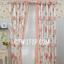 beige floral beautiful country pinkf lowers fancy shabby chic curtains