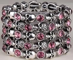 skull crystal bracelet images Skull skeleton stretch bracelet for women biker bling jewelry jpg