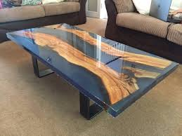 stunning epoxy resin and olive wood inset coffee table
