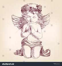 angel prays on his knees hand stock vector 363646253 shutterstock