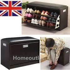 deluxe shoe ottoman bench storage closet wooden seat rack cabinet