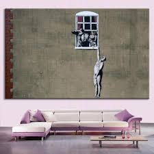 banksy home decor 1 pcs banksy art a man hanging out of the window wall art huge