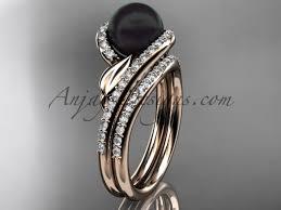 rings wedding set images Black pearl leaf bridal rings rose gold wedding set abp317s jpg